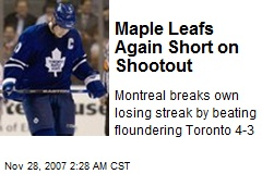 Maple Leafs Again Short on Shootout