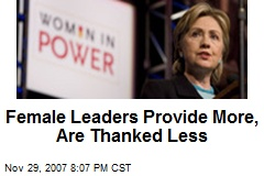 Female Leaders Provide More, Are Thanked Less