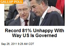 Record 81% Unhappy With Way US Is Governed