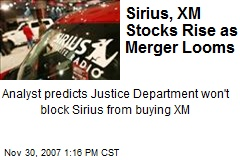 Sirius, XM Stocks Rise as Merger Looms