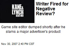 Writer Fired for Negative Review?