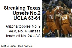 Streaking Texas Upsets No.2 UCLA 63-61
