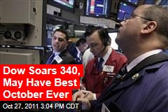 Dow Soars 339, May Have Best October Ever