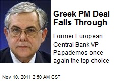 Greek PM Deal Falls Through
