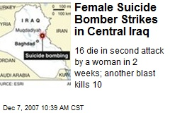 Female Suicide Bomber Strikes in Central Iraq