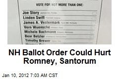 NH Ballot Order Could Hurt Romney, Santorum