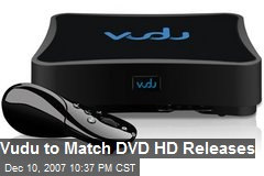Vudu to Match DVD HD Releases