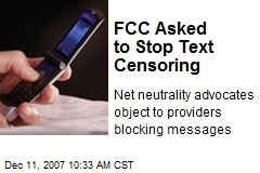 FCC Asked to Stop Text Censoring