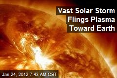 Vast Solar Storm Flings Plasma Toward Earth