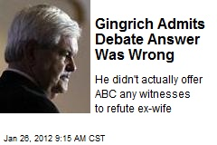 Gingrich Admits Debate Answer Was Wrong