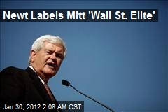 Newt Labels Mitt 'Wall St. Elite'