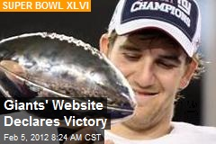 Giants' Website Declares Victory