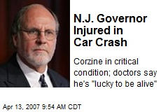 N.J. Governor Injured in Car Crash