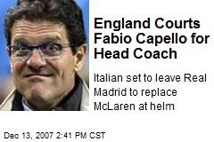 England Courts Fabio Capello for Head Coach