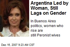 Argentina Led by Woman, Still Lags on Gender