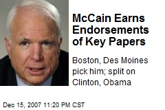 McCain Earns Endorsements of Key Papers