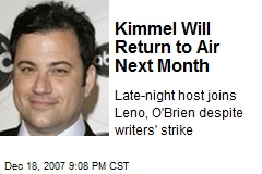 Kimmel Will Return to Air Next Month
