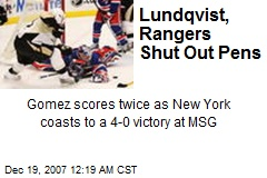 Lundqvist, Rangers Shut Out Pens