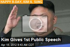Kim Gives 1st Public Speech