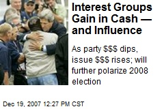 Interest Groups Gain in Cash —and Influence