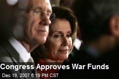 Congress Approves War Funds