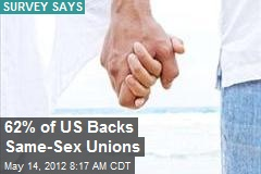 62% of US Backs Same-Sex Unions