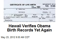 Hawaii Verifies Obama Birth Records Yet Again