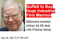 Buffett to Buy Huge Industrial Firm Marmon