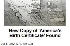 New Copy of 'America's Birth Certificate' Found