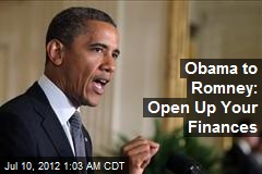 Obama to Romney: Open Up Your Finances