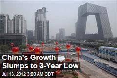 China's Growth Slumps to 3-Year Low