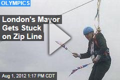 London's Mayor Gets Stuck on Zip Line