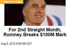 For 2nd Straight Month, Romney Breaks $100M Mark