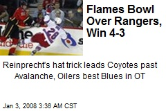 Flames Bowl Over Rangers, Win 4-3
