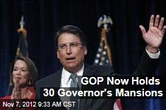 GOP Now Holds 30 Governor's Mansions