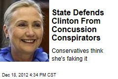 State Defends Clinton From Concussion Conspirators
