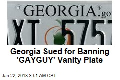Georgia Sued for Banning 'GAYGUY' Vanity Plate