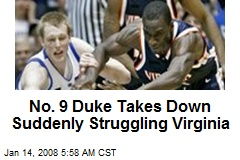 No. 9 Duke Takes Down Suddenly Struggling Virginia