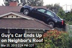 Guy's Car Ends Up on Neighbor's Roof