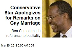 Conservative Star Apologizes for Remarks on Gay Marriage