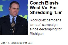 Coach Blasts West Va. For Shredding 'Lie'