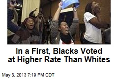 In a First, Blacks Voted at Higher Rate Than Whites