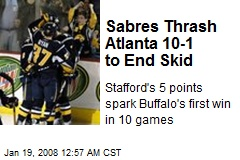 Sabres Thrash Atlanta 10-1 to End Skid