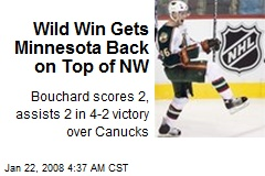 Wild Win Gets Minnesota Back on Top of NW
