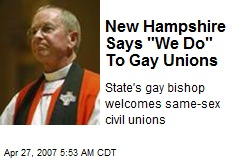 "New Hampshire Says ""We Do"" To Gay Unions"