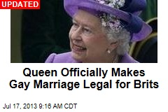 England Gay Marriage Law Set for Queen's Signature