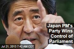 Japan PM's Party Wins Control of Parliament