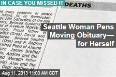Seattle Author Pens Moving Obituary— for Herself