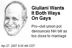 Giuliani Wants It Both Ways On Gays
