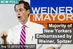 Majority of New Yorkers Embarrassed by Weiner, Spitzer